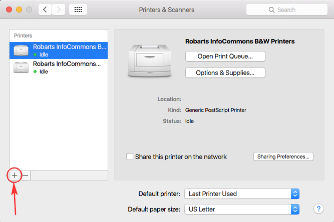 Mac Wireless setup Add printer by clicking plus sign